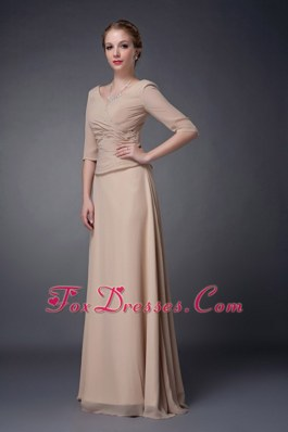 Champagne V-neck Ruching Mother of The Bride Dress with Sleeves