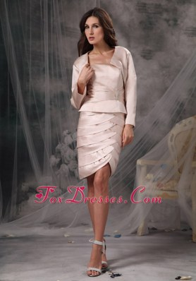 Ivory Knee-length Satin Mother Bridal Dress with Long Sleeves