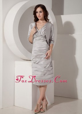 V-Neck Tea-length Taffeta Ruched Gray Mother of Bride Dress