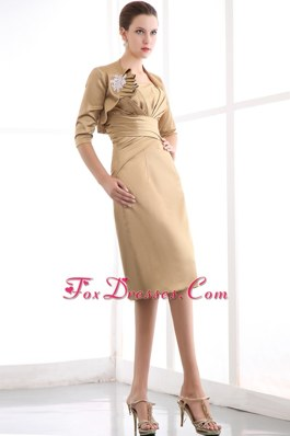 Gold Strapless Knee Length Mother of The Bride Dress