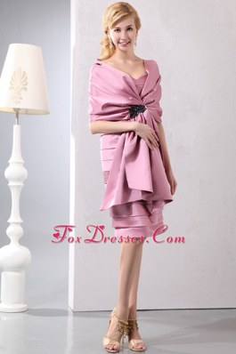 Lilac Sweetheart Knee Length Ruched Wedding Mother Outfits