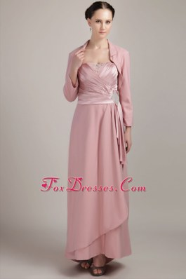 Light Pink Floor Length Beading Mother of The Bride Dress