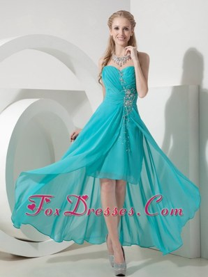 High-low Chiffon Turquoise Sweetheart Beading Prom Dress