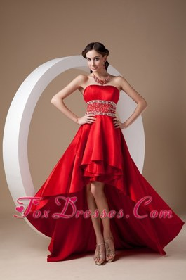 High-low Beading Prom Dress Red Strapless A-line