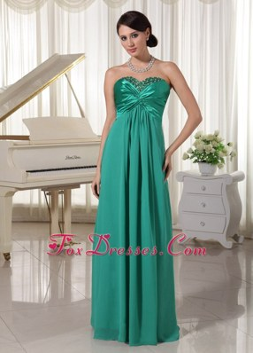 Turquoise Sweetheart Beaded Ruch Prom Evening Dress