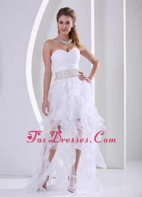 Sweetheart Ruffles White Prom Dress With Beading and Ruch
