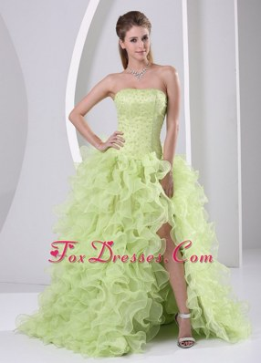 Beaded Ruffled Yellow Green Prom Dress with High Slit