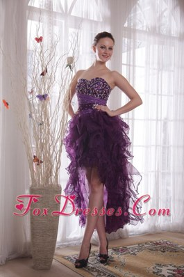 High-low Purple Sweetheart Beading Prom Cocktail Dress