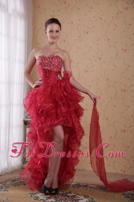 Red Column Sweetheart High-low Beading Prom Cocktail Dress