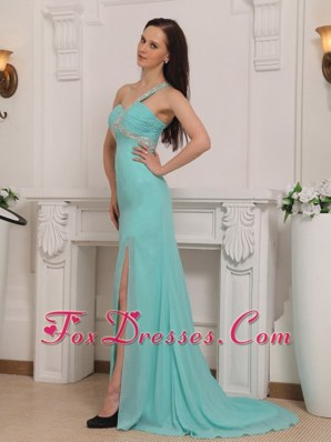 Aqua Blue Prom Pageant Dress One Shoulder Chiffon Beading