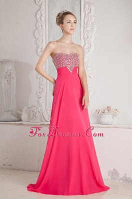 Hot Pink Empire Sweetheart Prom Dress Floor-length Beading