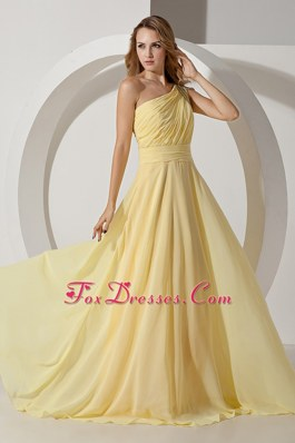 Prom Dress Light Yellow One Shoulder Brush Train Beading