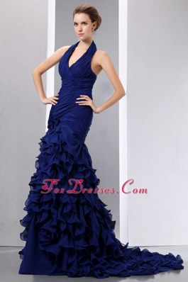 Navy Blue Halter Top Mermaid Prom Dress with Ruch Ruffles