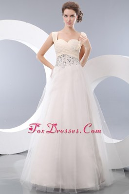 White Straps Floor-length Tulle Beading Prom Dress