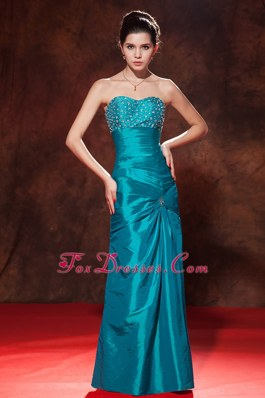 Teal Sweetheart Floor-length Taffeta Beading Prom Dress