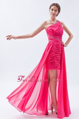 One Shoulder High-low Chiffon Sequins Hot Pink Prom Dress