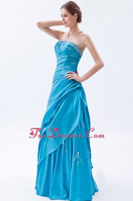 Teal Long Prom Dress Strapless Taffeta Beading