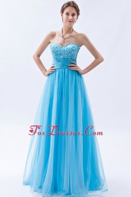 Baby Blue Sweetheart Beading Long Prom Dress