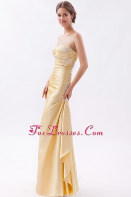 Champagne Sweetheart Appliques Long Prom Dress