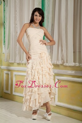 Champagne Flower Ruffles Prom Dress Ankle-length