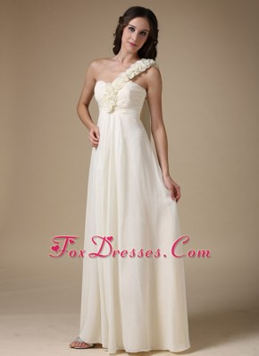 One Shoulder Chiffon Flowers White Prom Dress Empire