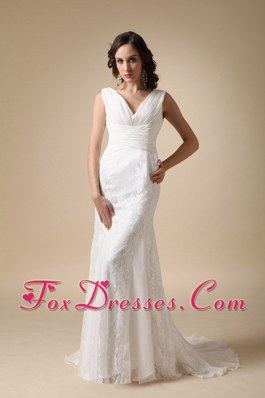 Column V-neck Lace Ruched Wedding Dress 2013 Brush Train