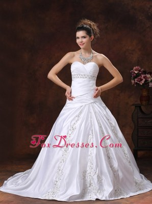 Ruched Embroidery Wedding Dress Sweetheart Bridal Gowns