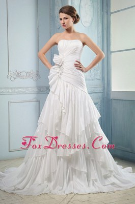 2013 Ruffled Layers Wedding Dress Ruched Beading Court Train