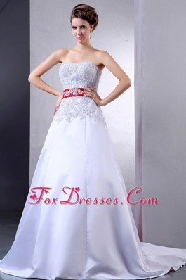 Red Sash Appliques Wedding Dress Gown with Court Train
