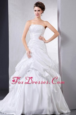 Pick-ups Ruching Court Train Ball Gown Wedding Dress 2013