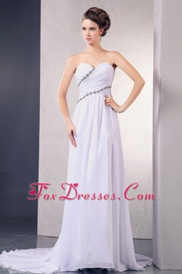 Appliques Ruching Chiffon Wedding Dress Court Train Sweetheart