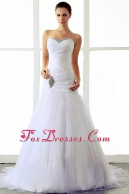 Ruched Tulle Beading Sweetheart Wedding Bridal Gowns