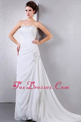 Ruched Appliques Bridal Wedding Dress Court Train Column