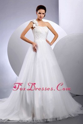 One Shoulder Hand Made Flower Court Train 2013 Wedding Dress