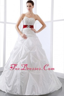 Colored Sash Appliques Wedding Dress Pick-ups Chapel Train
