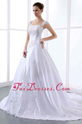 Embroidery Wedding Dresses With Wide Straps Cathedral Train