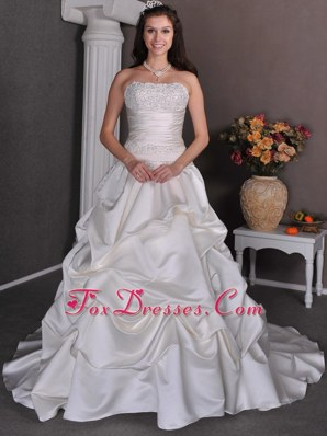 Strapless Chapel Popular Wedding Dress Beading Pick-ups