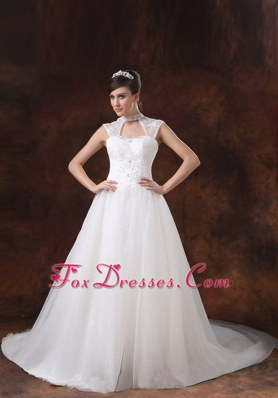 Appliques Decorate Popular Wedding Dress High Neck