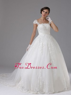 Lace Sash Popular Wedding Dress Cap Sleeves Brush