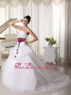 Belt Beaded Popular A-line Weding Dress Hand Made