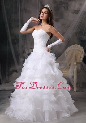 Popular Organza Ruffles Wedding Dress Sweetheart