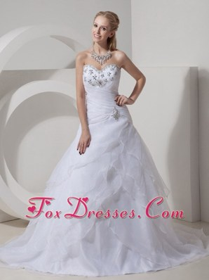 Organza Beading Popular Wedding Dress Chapel