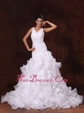 V-neck Ruffles Church Popular Wedding Dress 2013