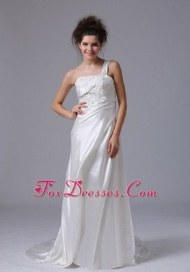 Popular Column Beading Wedding Dress One Shoulder
