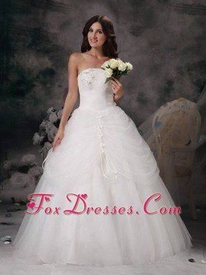 Strapless Popular A-line Wedding Dress Hand Made