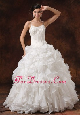 Popular Beaded Ruffles Straps Wedding Dress For 2013