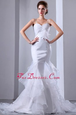 Mermaid Spaghetti Straps Ruffles Popular Wedding Dress