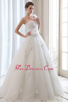 One Shoulder Popular Wedding Dress Beading Flowers