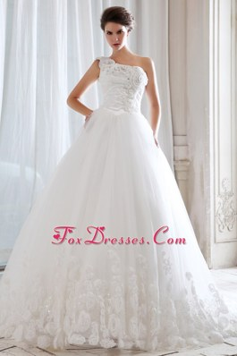 One Shoulder Beading Appliques Wedding Dress Popular