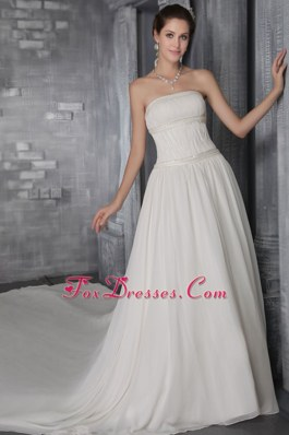 Chiffon A-Line Pleat Wedding Dress Popular Cathedral